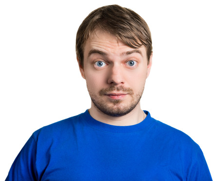 raised eyebrow: Surprised face. Isolated on white.