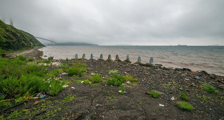 wide angle lens: Plastic bottles and other garbage on the shore of the Sea of Japan near Vladivostok. Cloudy day. Wide angle lens shot. Stock Photo