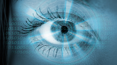 young eyes: Eye viewing digital information. Conceptual image.