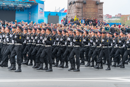 participate: VLADIVOSTOK RUSSIA MAY September 2015: Military participate of the parade dedicated to the 70th anniversary of the victory in the Second World War in Svetlanskaya street.