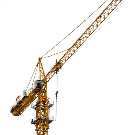 hight tech: Yellow tower crane isolated on white.