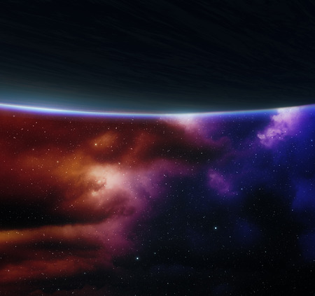 the blue planet: Blue planet with nebula on background.