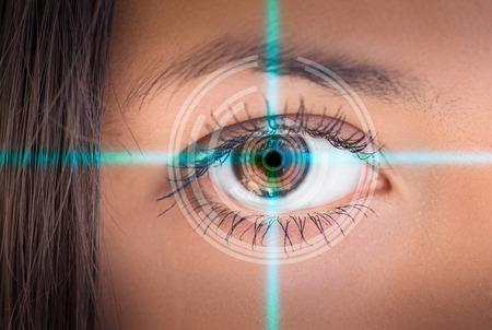 futuristic eye: Eye viewing digital information. Conceptual image.