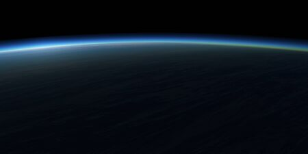 lightyear: Blue planet and dark sky. Space background. Stock Photo