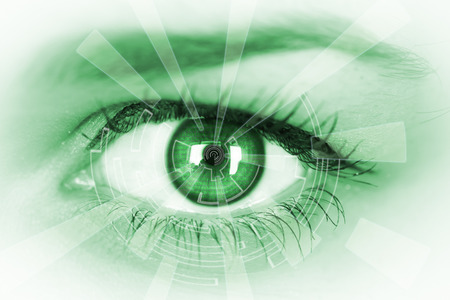 ides: Eye viewing digital information. Conceptual image.