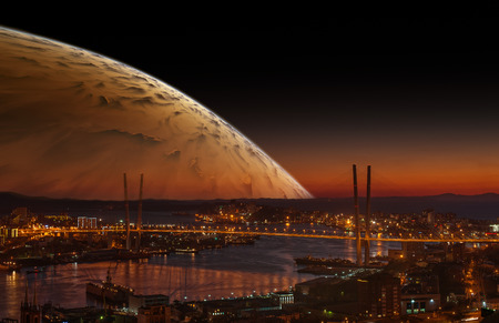 concept magical universe: City landscape at night with sky with big planet.
