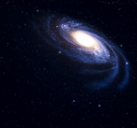 Spiraalstelsel met tilt-shift effect in diepe ruimte.