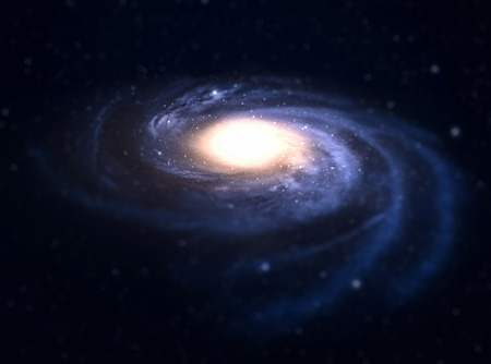 accretion: Spiral galaxy with tilt-shift effect in deep space.