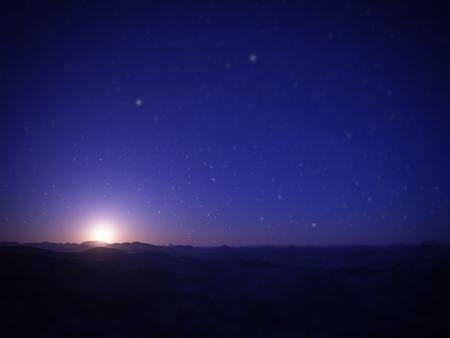 night shift: Alien Planet. Landscape with tilt-shift miniature effect.