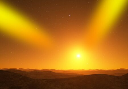 lightyear: Alien Planet. Landscape with bright yellow star. Stock Photo