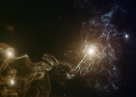 Space with nebula and bright stars with tilt-shift miniature effect. Stock Photo