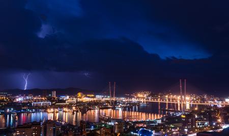 city scene: Lightning storm over city. Stock Photo