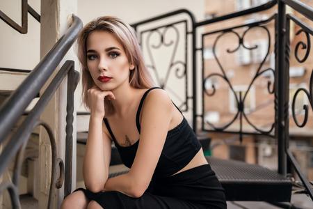color tone: Portrait of beautiful blonde. Vintage color tone.