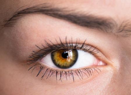 human eye: Green human eye with clock - concept photo. Stock Photo