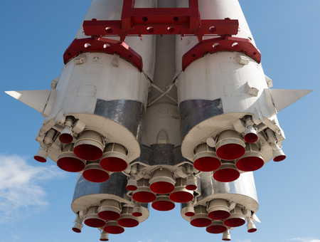 orbital spacecraft: Closeup photo of old and rusty space rocket engine.