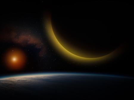 성운과 거 대 한 행성 배경에 파란색 행성.