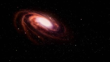 accretion: Red spiral galaxy in deep space.