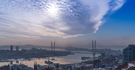 daylight: Cityscape, daylight view. Winter. Stock Photo