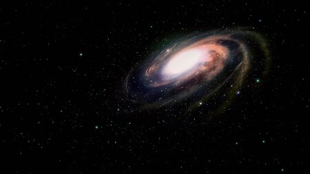 accretion: Spiral galaxy in deep space. Stock Photo