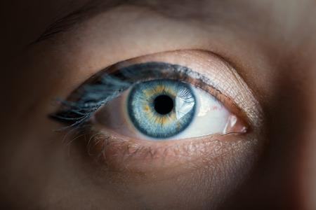 ojo humano: ojo azul humano con el primer reflejo. Imagen en tonos de color.