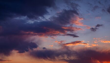 hires: Beautiful sunset sky with dark-red clouds. Hi-res panorama.