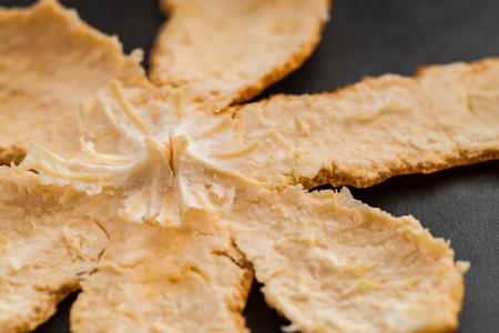 orange peel skin: Tangerine (Mandarin) peel on a dark background. Selective focus. Stock Photo