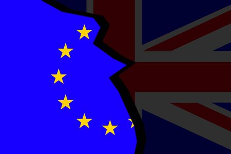 separatism: Brexit - European Union Flag With Great Britain. Conceptual image. Stock Photo