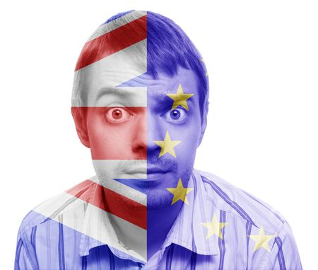 skepticism: Difficult decision - Portrait of man who make decision with Great Britain Flag and European Union Flagon. Conceptual