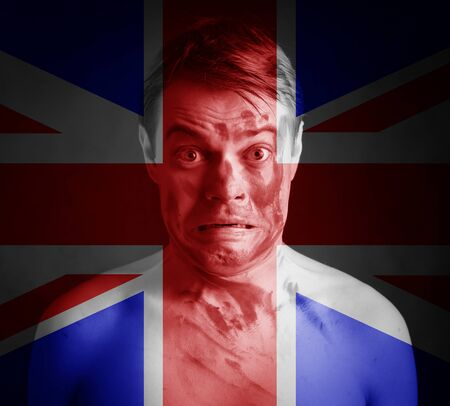 separatism: Portrait of man with British flag on his face. Conceptual image.