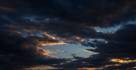 Dramatic sky with dark clouds - nature background. Stock Photo
