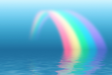 Rainbow reflecting in water surface.