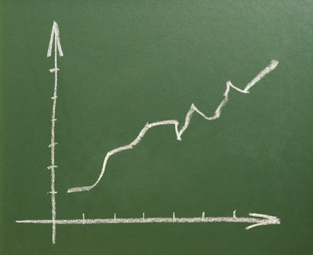 Chart with positve arrow. Stock Photo