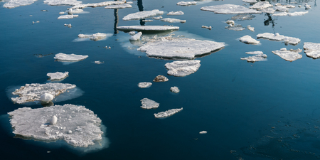 Ice floes on the sea surface.