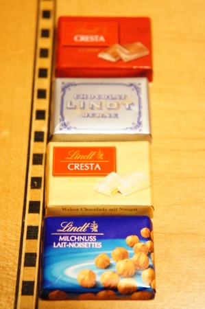 lindt: food product -  a row of Lindt chocolate bars Editorial
