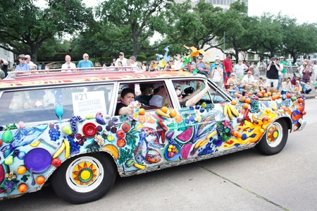 Houston, Texas - Sunday 22nd May 2011: 2011 Houston Art Car Parade sponsored by The Orange Show at Allen Parkway, from Bagby to Waugh Editorial
