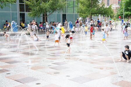 Houston, Texas - Sunday 24th April 2011 : Gateway Fountain is one of the most popular features in Discovery Green, and indeed, the entire city