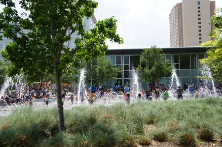 Houston, Texas - Sunday 24th April 2011 : Gateway Fountain is one of the most popular features in Discovery Green, and indeed, the entire city Stock Photo - 9601285