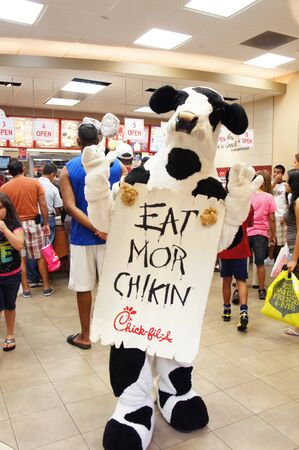 food court: Houston, Texas - Saturday 20th August 2h011 : Chick-fil-A cow mascot posing at te Chick-fil-A restaurant in the food court of Memorial City Mall Houston, Texas