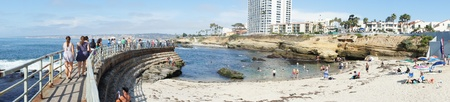 Panoramic view of La Jolla Cove beach in San Diego, California with blue sky