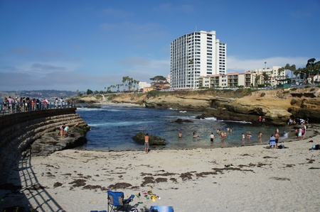 La Jolla Cove beach in San Diego, California with blue sky
