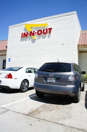 barstow: Barstow, California - August 29 2011 : In-N-Out Burger near Barstow Factory Outlets on I-15 between Southern California  and Las Vegas, Nevada