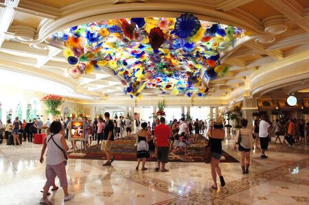 Las Vegas, Nevada,  - September 3 2011: A breathtaking display of 2,000 hand-blown glass flowers - the Fiori di Como, created by world-renowned artist, Dale Chihuly at the Lobby of Bellagio Hotel and Casino