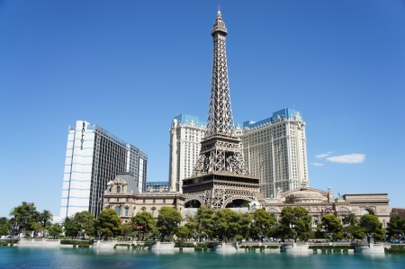 Las Vegas, Nevada - September 2 2011: Paris Hotel and Casino taken across the Fountain of The Bellagio Hotel in Las Vegas, Nevada