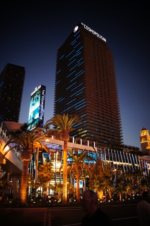 nightime: Las Vegas, Nevada - September 2, 2011: Cosmopolitan  Hotel on the famous Las Vegas Strip