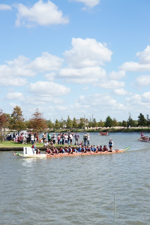 Houston, Texas - October 22, 2011 : 8th Annual Gulf Coast International Dragon Boat Regatta at Brookes Lake, Fluor in Sugar Land, Texas Stock Photo - 11390415