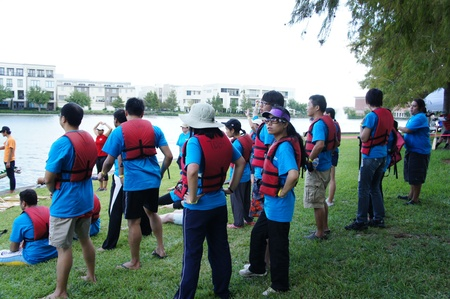 Houston, Texas - October 22, 2011 : 8th Annual Gulf Coast International Dragon Boat Regatta at Brookes Lake, Fluor in Sugar Land, Texas Stock Photo - 11390425