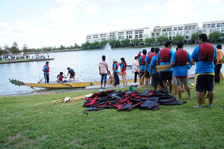 Houston, Texas - October 22, 2011 : 8th Annual Gulf Coast International Dragon Boat Regatta at Brookes Lake, Fluor in Sugar Land, Texas 報道画像