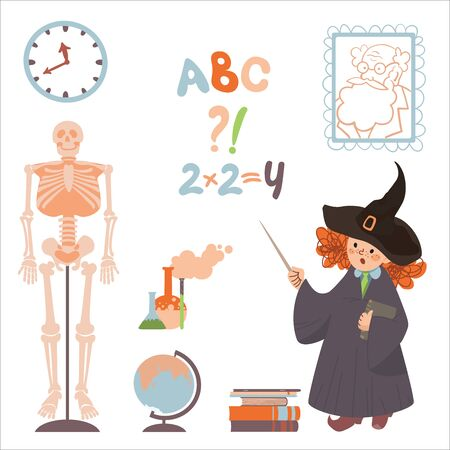 A set of clipart on the topic of education and science. Teacher sorceress and attributes for learning. Vector. Illustration