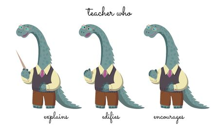 A teacher Mr Dinosaur that explains, censures, and encourages. Vector on white background.