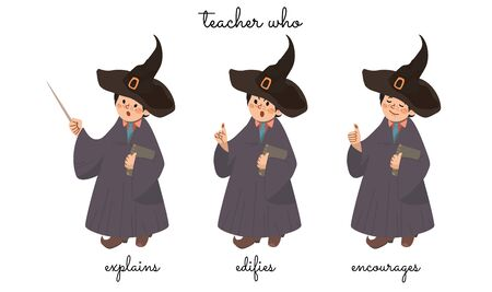 A teacher Mr Wizard that explains, censures, and encourages on white